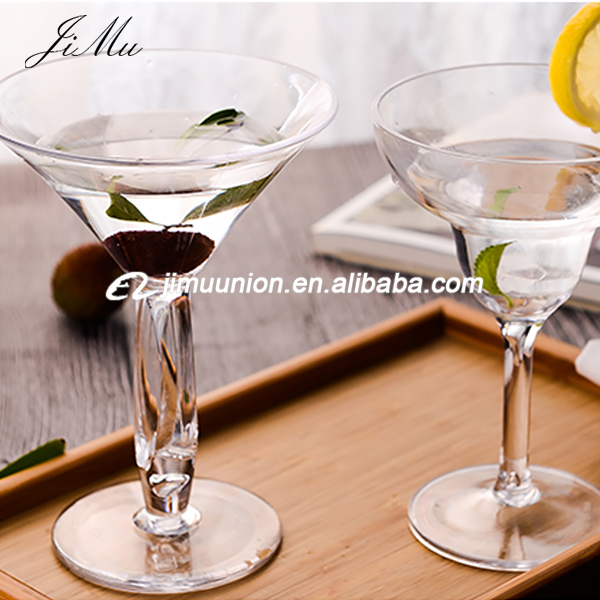 wholesale polycarbonate Unique Shape Unbreakable Plastic Martini wine Glasses with ball stem