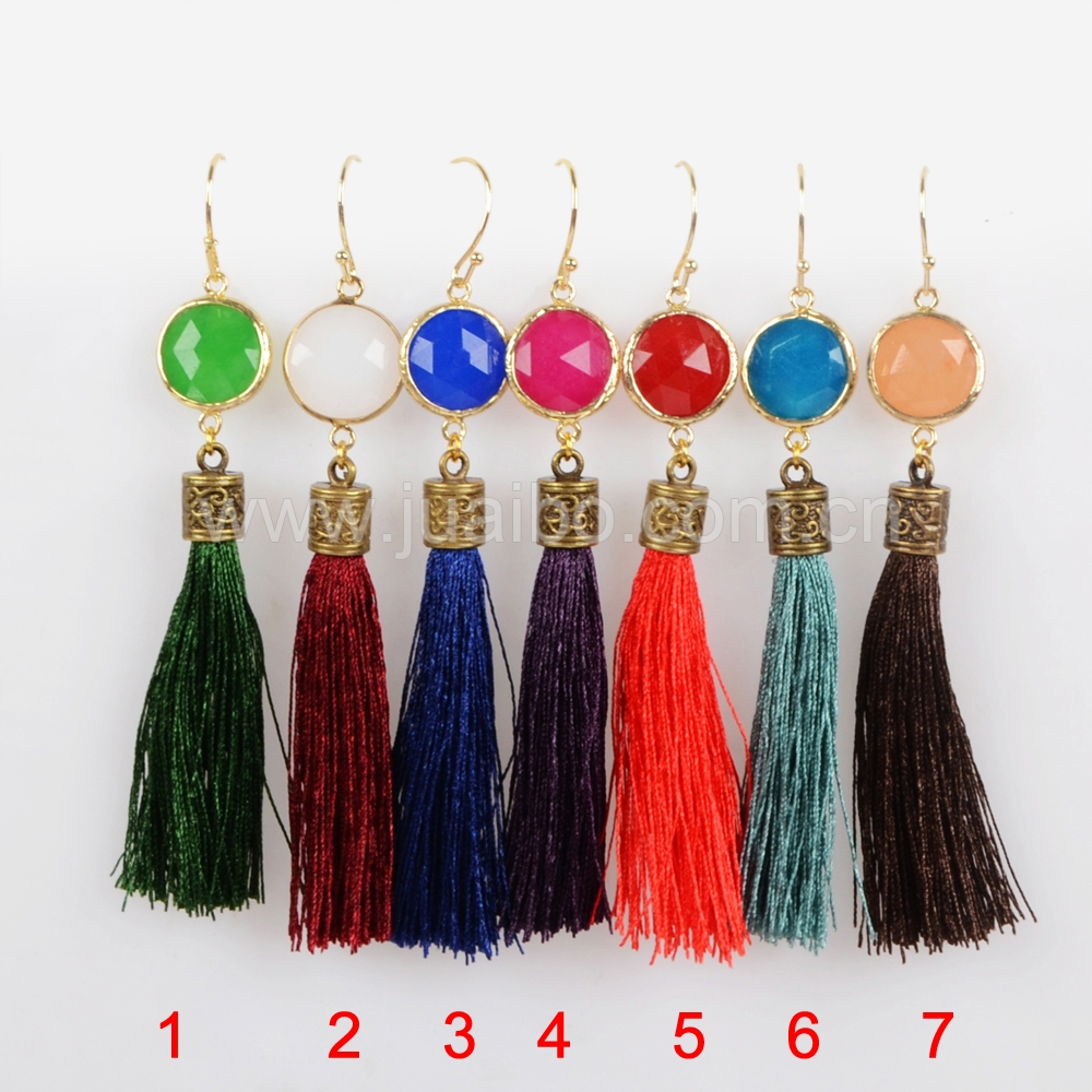 Cheap gold filled multicolor glass beads long tassel earrings wholesale G1308