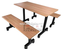 MDF dining table bench, KD packing wood dining table and chair, metal legs dining table design