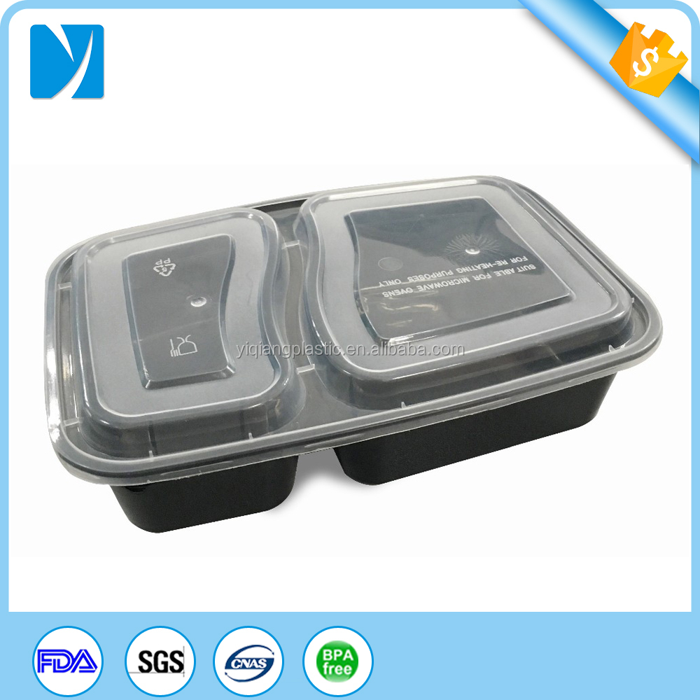 Injection plastic molding type 2 compartment meal prep container/food container with lids