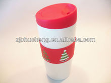 16oz coffee mug with printing silicone lid and sleeve