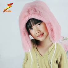 STABILE pink faux fur winter warm trapper hat for women and kids