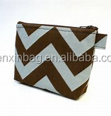Custom Printed White Plain Canvas/Cotton Makeup Bag with Zipper
