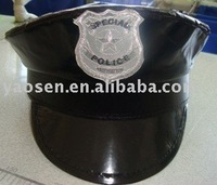 Black octagon yacht captain skipper sailor boat Police Sheriff Hat Cap for Party Costume