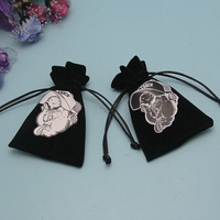 High Quality Recycle Velvet Drawstring Black Jewelry Bag With Custom Screen Printing Logo
