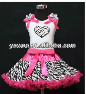 New Arrival hot wholesale zebra pettiskirt set baby boutique pettiskirts outfits