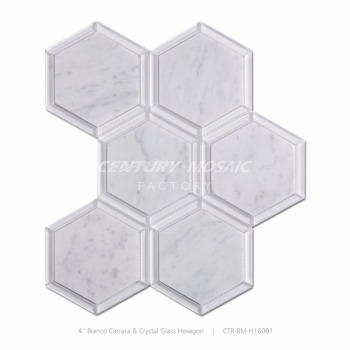 glass mix carrara marble stone hexagon mosaic tile designs