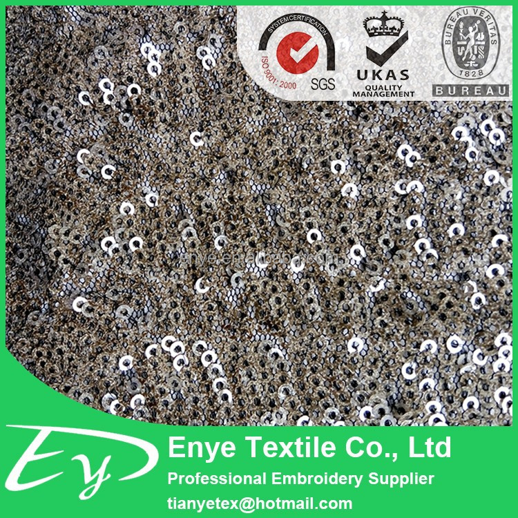 2017 high quality polyester mesh ground cheap sequin fabric