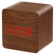 Hot Selling Desk Clock Modern Style Multicolor LED Wooden Clock Alarm Clock Hot