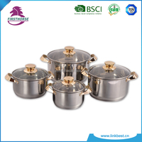 8pcs cookware set stainless steel with golden color happy baron FH-187F