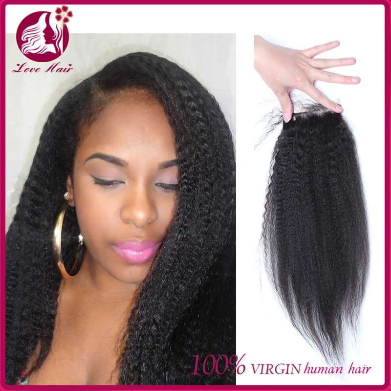 7A Malaysian Corse Yaki Kinky Straight Lace Closure Free Middle 3 Part Lace Closure with Baby Hair Love Hair Products