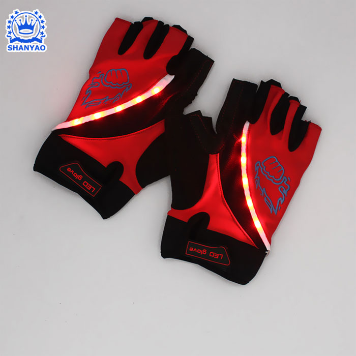 low price New Bike Bicycle LED Gloves Half Finger Cycling Gloves with light