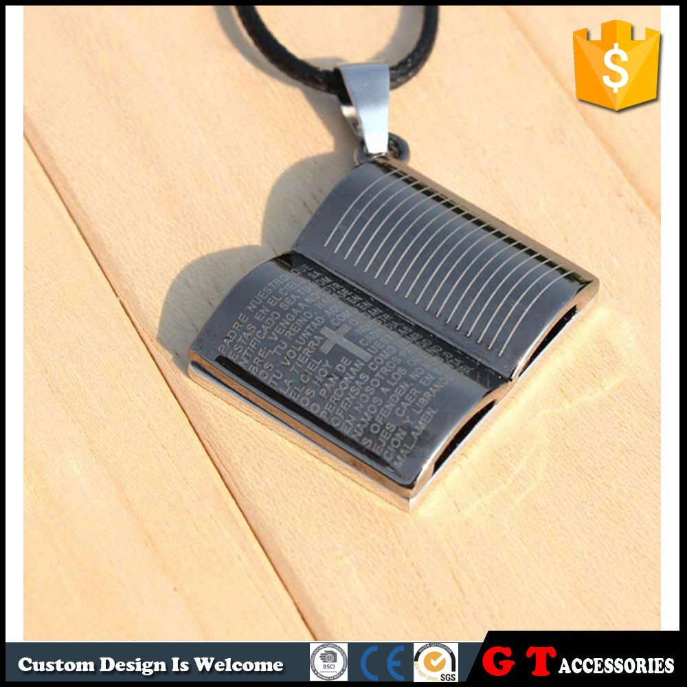 Hot Sale Bible Pendant Necklace With Leather Rope, Fashion Jewelry Made In China Wholesale
