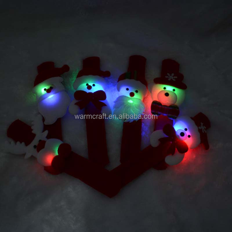 Santa Claus Slap Led Bracelet Xmas Christmas Light Wristband Snowman Gift Party Decor Pat Hand Circle