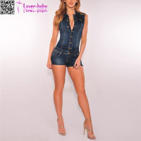 wholesale Denim Button Down Sleeveless adult knit romper pattern L55278