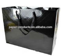 Glossy Black Diamond Textures Shopping Paper Bag With Card