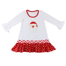 wholesale baby clothes kids short dress for party white christmas wedding dresses with red ruffles