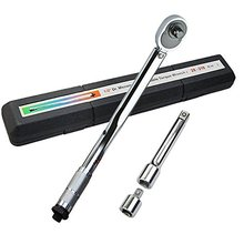 "Torque Wrench,AKM 1/2"" Adjustable Drive Click(10-150Ft-Lb. 28-210 N-m) with Extension Bar,Reducer in Case"