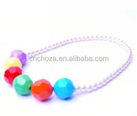 Z56100A Korean girls fashion necklace high-end children colorful acrylic beads,baby fashion accessories