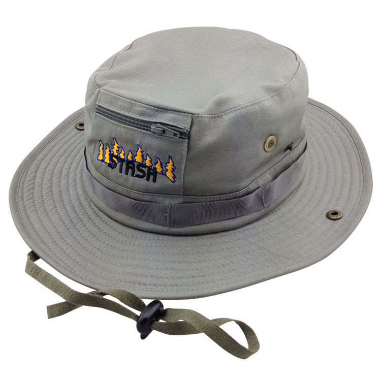 Unisex grey fishing hats with pocket & string, screen printing underbrim bucket hat