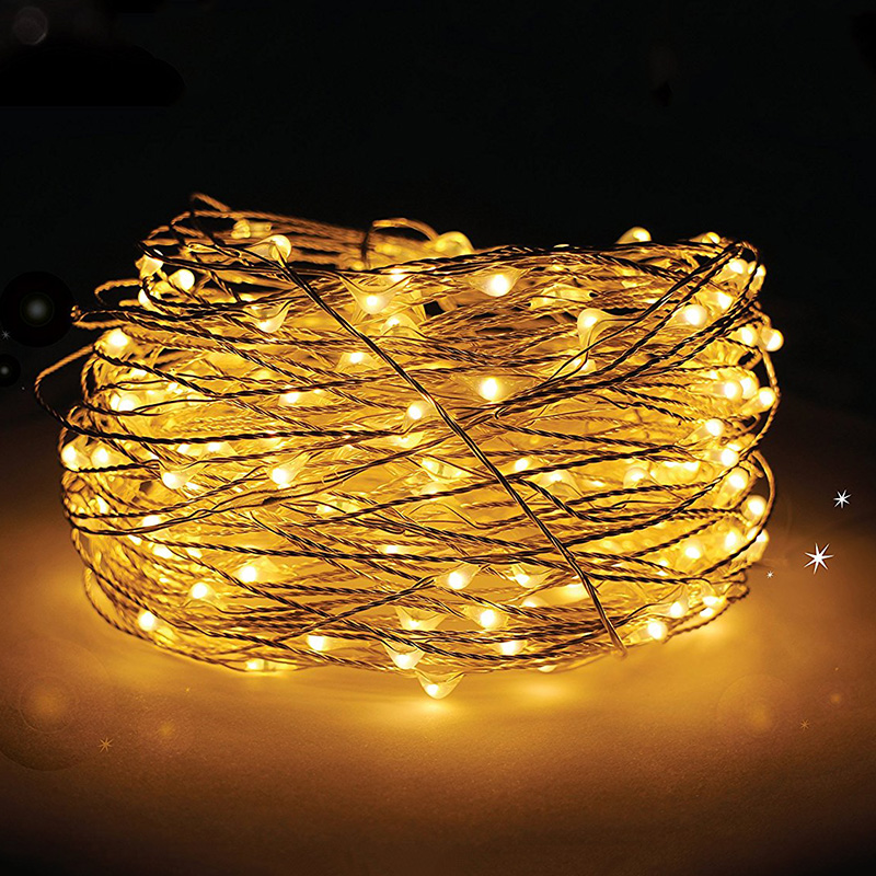 Indoor/ Outdoor Dimmable 5V 10 M 100 LEDS warm white mini micro led copper wire string lights with CE UL