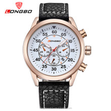 Longbo brand leather strap alloy 3atm water resistant chronograph watch sports watches made in china