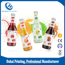 High quality printed plastic food labels for juice bottles custom self adhensive sticker label