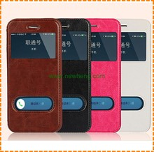 Wholesale smart cover double window leather phone case for iphone 6 6 plus