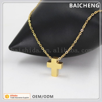 Simple design Thick Cross pendant Stainless steel pendant Necklace for religion