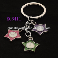 Promotional Metal Clock Star Shaped Keychain