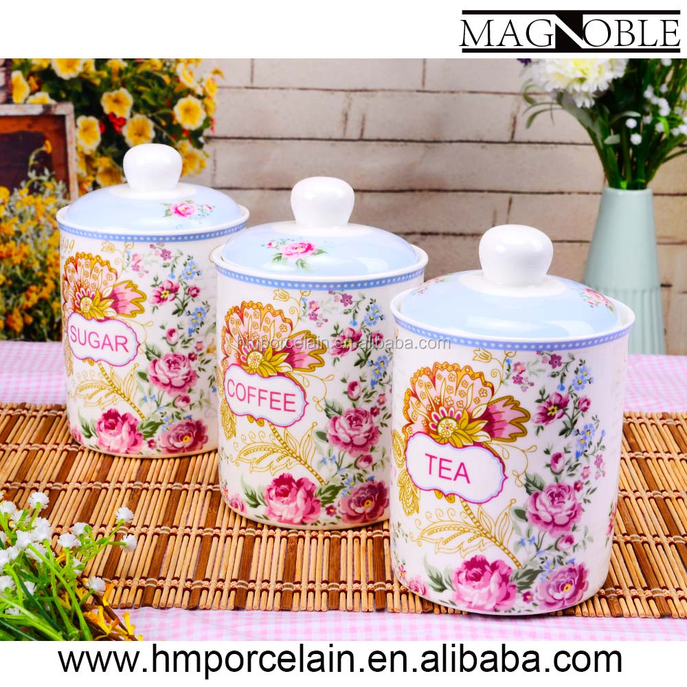 Grace ceramic storage jar set of 7pcs new bone china tea sugar coffee canisters