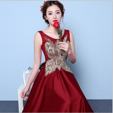 2016 Wholesale Red Night Evening Dress Sleeveless Long Maxi Lady Christmas Party Dresses Red For Women