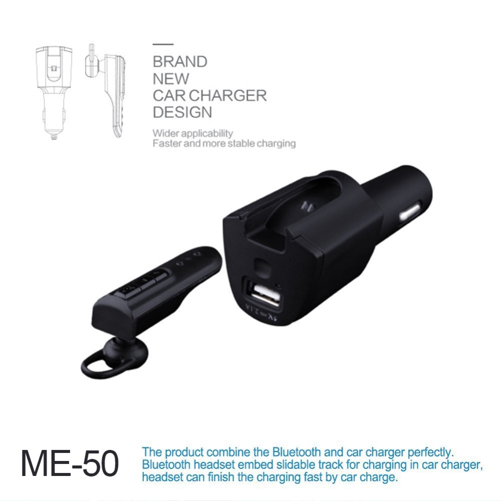 Portable Multi-function blue-tooth headset with 2 in 1 car charger 1 USB Charging Ports for Smartphones