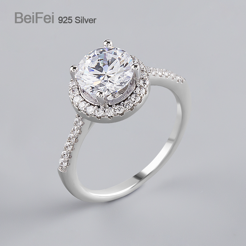 Fine jewellery 925 silver diamond <strong>ring</strong> for wedding