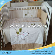 Cotton Embroidery Bear Design Crib European Baby Bedding Set