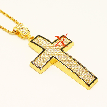"24"" (60cm) MEN'S HIPHOP PAVE ICED OUT GOLD SILVER LARGE CROSS PENDANT NECKLACE 3MM STAINLESS STEEL BOX CHAIN HIPHOP PENDANT"