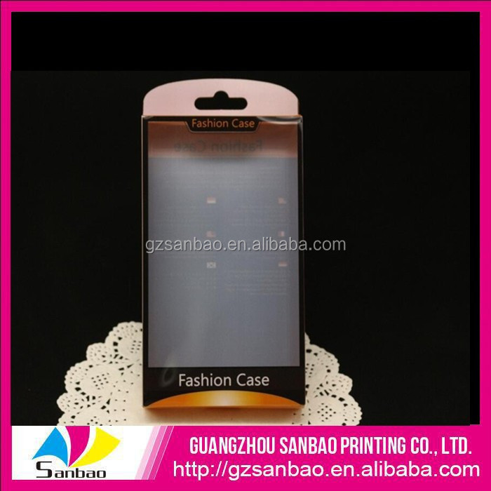 Gloosy design handling plastic cell phone case display box