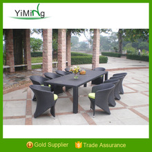2015 Black 10 person Fashionable Leisure All Weather Long Lifetime Outdoor Rattan Dining Set