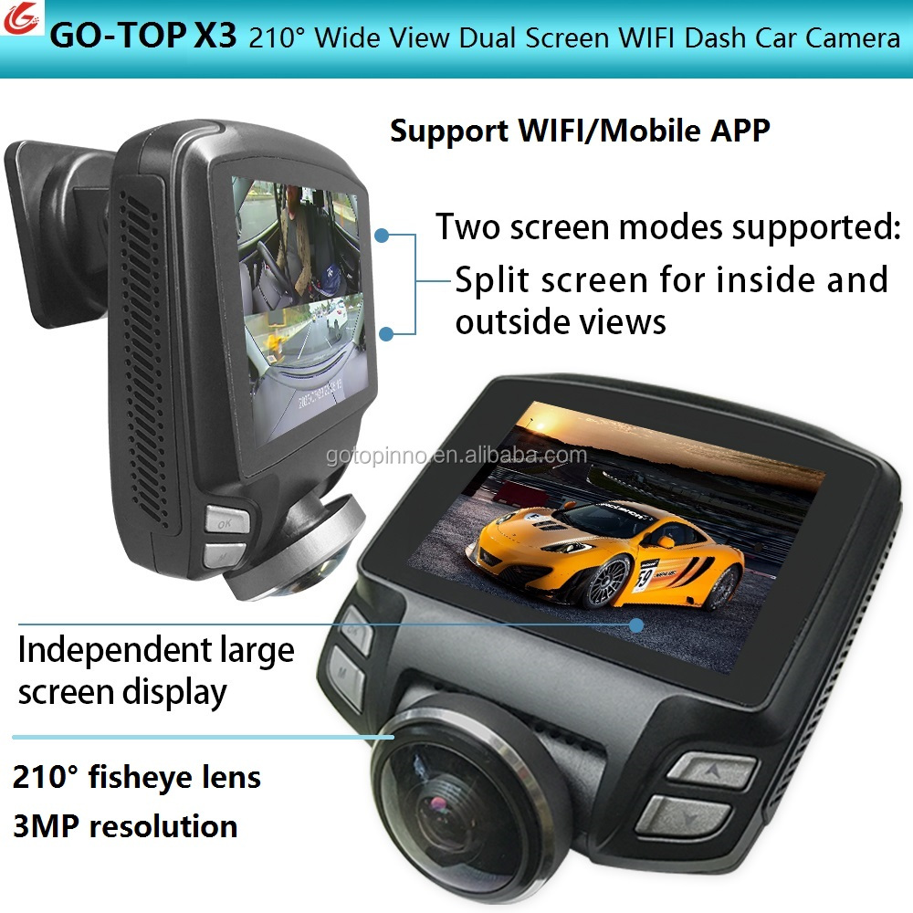 GO-TOP X3 360 rexing mini yi 1080p wifi Car dual camera dash cam with 4k wifi hd 1080p user manual pro for car dvr and philippin