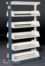 2014 high quality modern unexpensive Double Sided Steel Library Book Racks