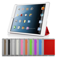 Ultra-slim premium flip PU leather cover foldable folio stand hard PC plastic shell back case for iPad air 1/2