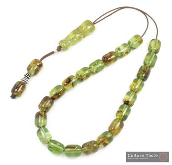 Worry Beads-Greek Komboloi ~ Solid Green Amber - Barrel - L