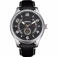 INFANTRY Pilot Aviation Silver Dial Leather Strap Fashion Date Men Watch