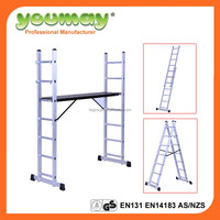 EN131-approved used aluminum scaffold with plywood platform ( AM0407A)