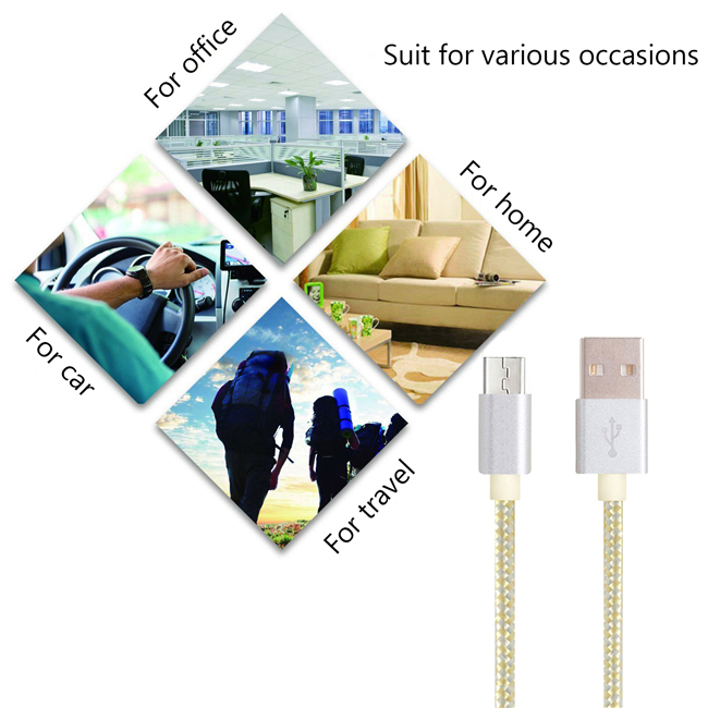Aluminum alloy USB-MICRO2.0 High speed charging SYNC Cable 3FT Nylon wire GOLD+ SILVER