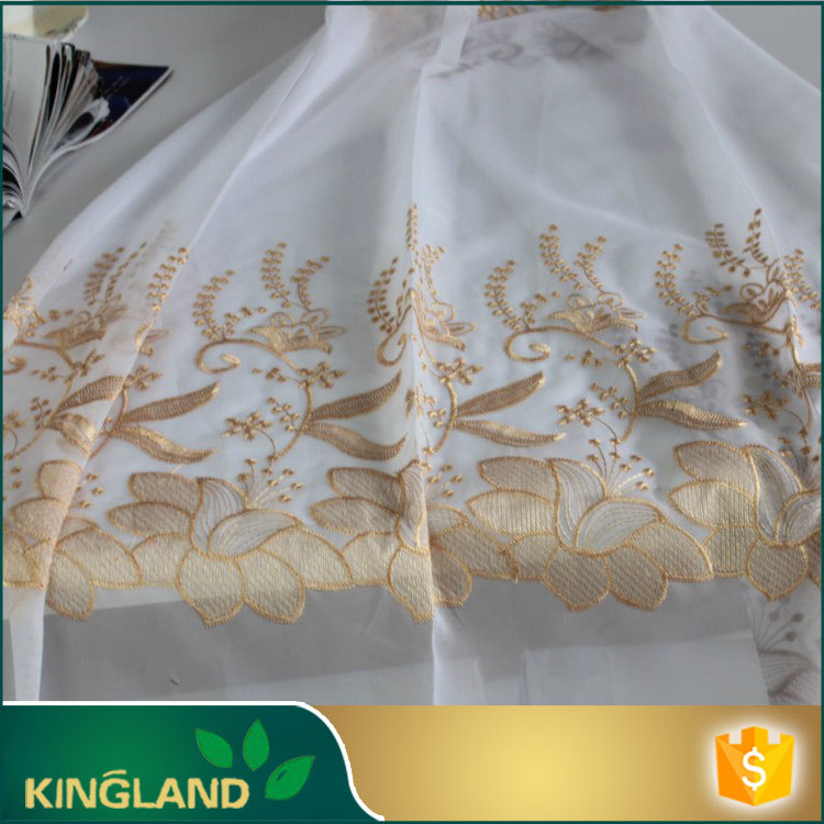 Modern house design supplier High end Fancy Indoor organza embroidery curtain