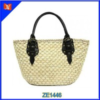 2015 New Summer Beach Ladies Straw Bag With PU leather Handle
