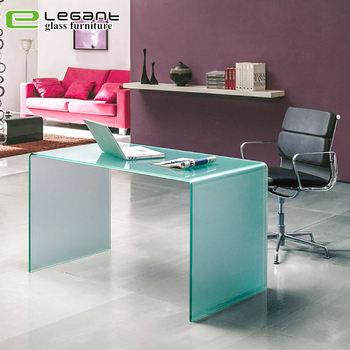 Modern hot bending office computer table / latest glass office table designs