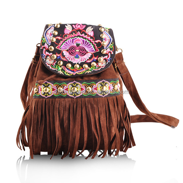 2017 Cheap Women Vintage tassel backpack Embroidered bag from china