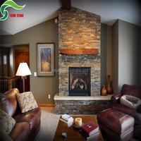 Decorative rusty stone slate walling tiles fireplace border